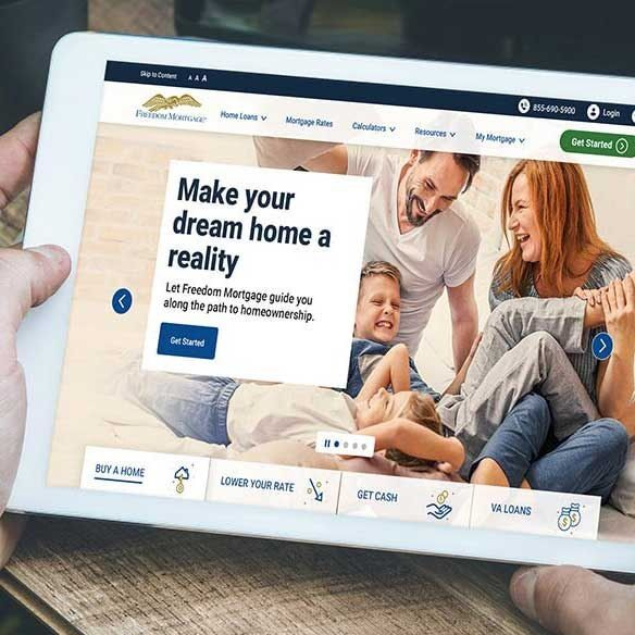 Screen of Freedom Mortgage homepage on a digital tablet