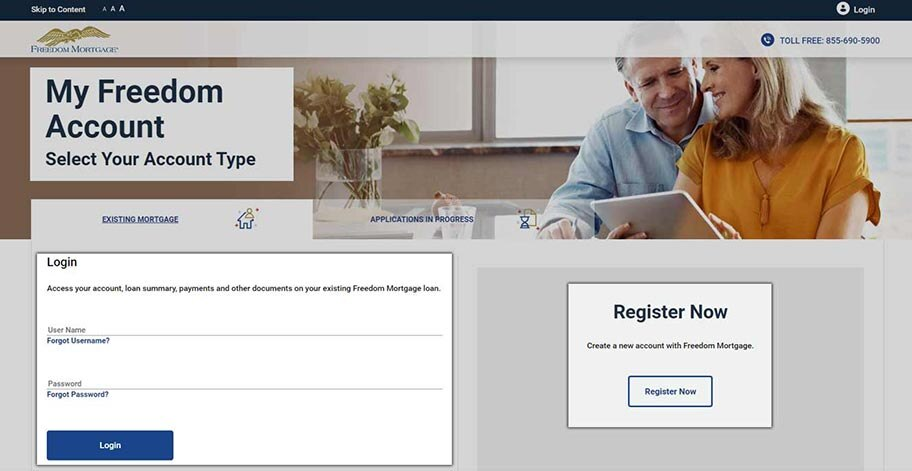 Freedom Mortgage login page