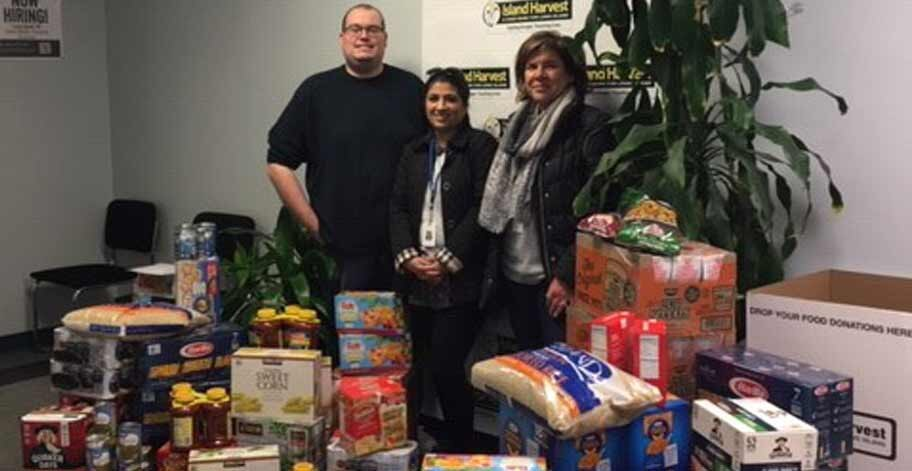 Our New York offices were able to collect enough to provide 571 meals to Island Harvest.